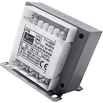 Blok EL 18/15 kontrol transformer, Isolation transformer, sikkerhed transformer 1 x 230 V 2 x 15 V AC 18 VA 600 mA