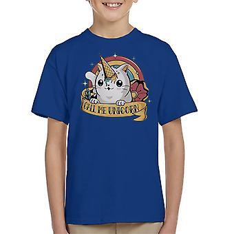 Cute Cat Call Me Unicorn Kid's T-Shirt