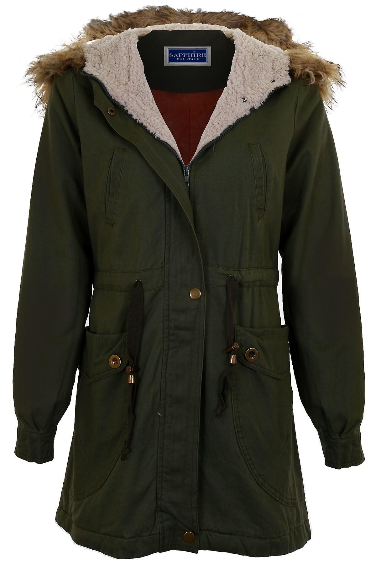 Hyvät irrotettava tekoturkiksia hupullinen Zip Up Naisten talvi kalan pyrstön Parka takki