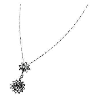 Elements Silver Marcasite Double Daisy Drop Pendant - Silver