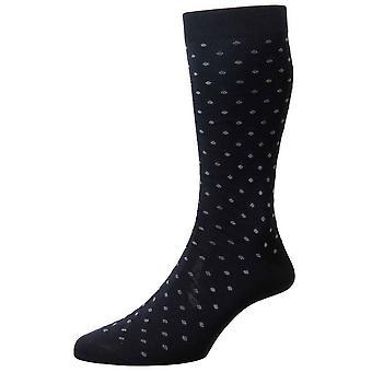Pantherella Streatham All Over Spot Cotton Lisle Socks - Navy