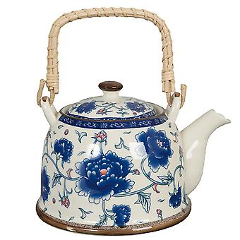 Clayre & EEF romantic teapot cottage style shabby ditzy floral blue
