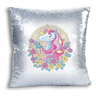 i-Tronixs - Unicorn Printed Design Silver Sequin Cushion / Pillow Cover for Home Decor - 5