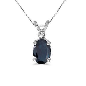 LXR 14k Vit Guld Oval Safir och Diamant hänge 0.8ct
