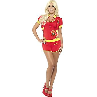 Deluxe Baywatch Lifeguard Costume, Red & Yellow, with High Rise Swimsuit, Shorts, Jacket & Whistle