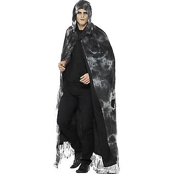 Deluxe trollbunden skämda Cape, svart & grå, Tie Dye, Unisex