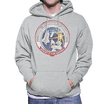 NASA STS 41 C Challenger Mission Badge Distressed Men's Hooded Sweatshirt