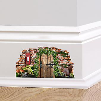 Full Colour Woodland Fairy Pixie Door Skirting Board Wall Sticker