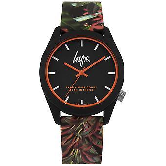 Campagna pubblicitaria   Cinturino in Silicone foglia/fiore nero   Quadrante nero   HYU009BN orologio