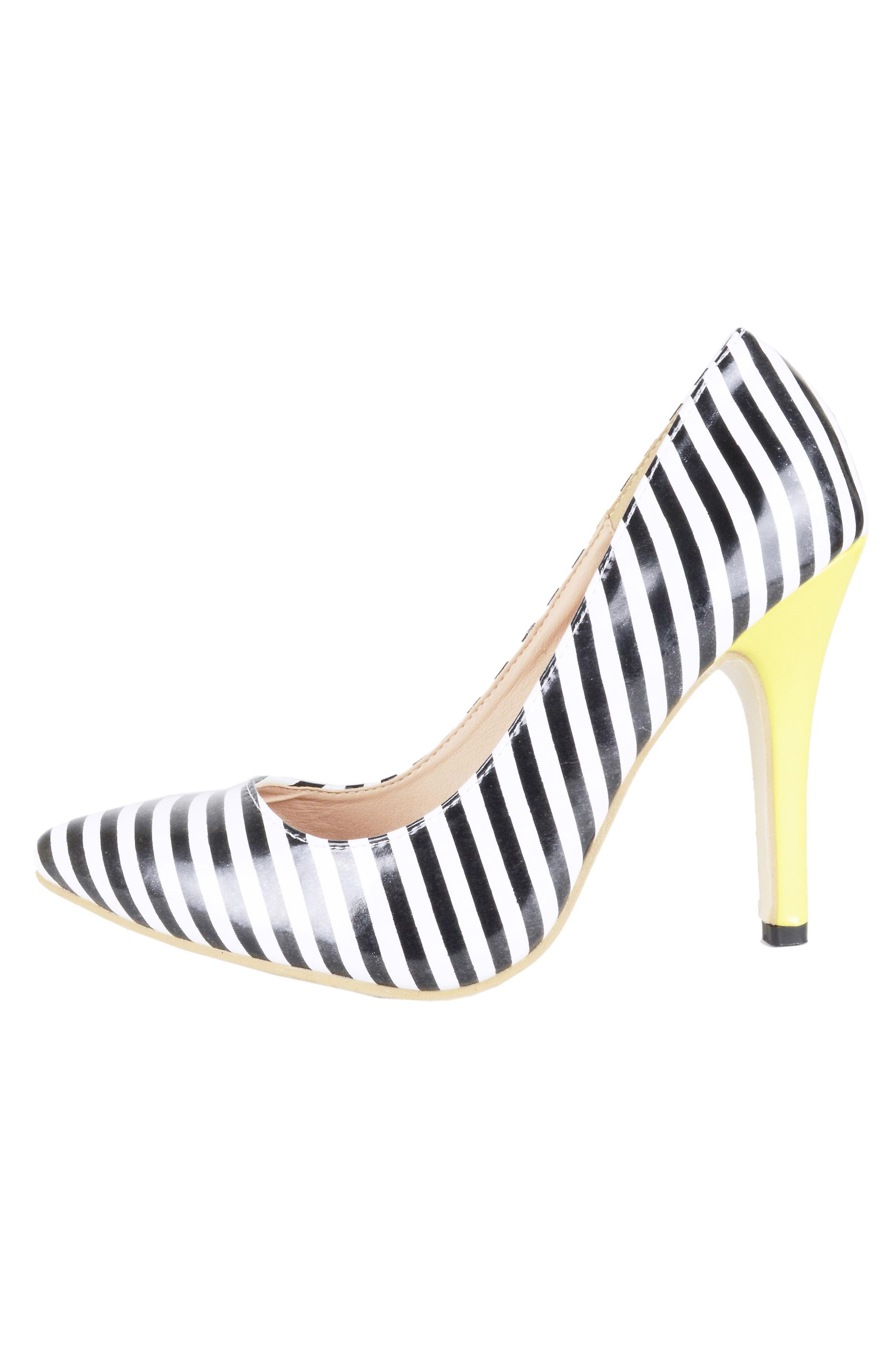 Lovemystyle Black And White Stripe Court Shoes With Yellow Heel