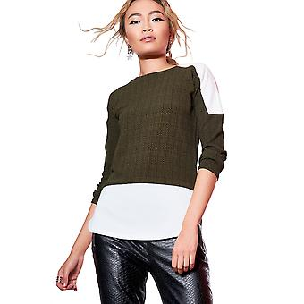 Style London Khaki Abstract Shirt Jumper With Shoulder Detail
