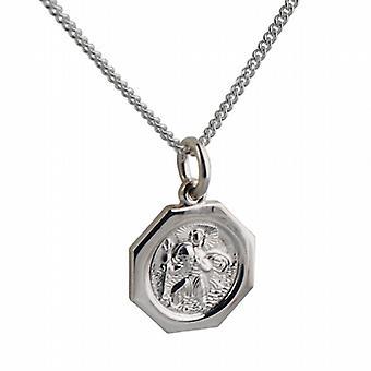 Pendant de plata 15x15mm octogonal St Christopher con una pulgadas de la acera cadena 24