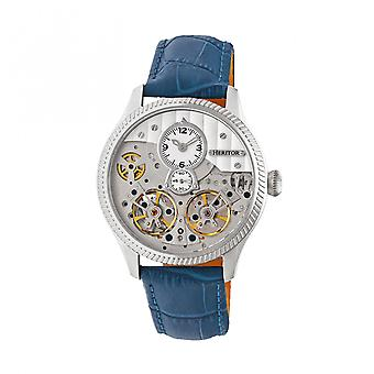 Heritor Automatic Winthrop Leather-Band Skeleton Watch - Silver/Blue