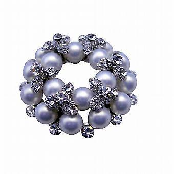 Alte Perlen Brosche Pin mit kubischer Zirkon Bud Brosche