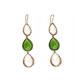 Gemshine örhängen gröna peridotes, ökade kvarts droppar. 925 silver eller guldpläterad