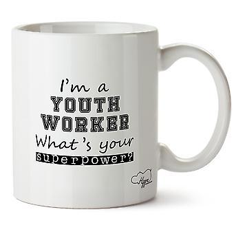 Hippowarehouse je suis un jeune travailleur, ce qui est votre superpuissance? Mug imprimé coupe céramique 10oz