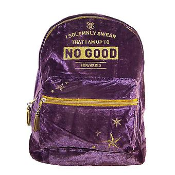 Girls Harry Potter Hogwarts deep purple velvet large backpack