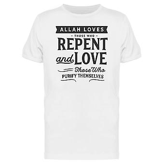 Allah Loves Those Who Repent Tee Men's -Image by Shutterstock