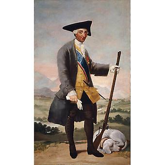 Portrait of Charles III in Huntin Costume,Francisco Goya,60x35cm