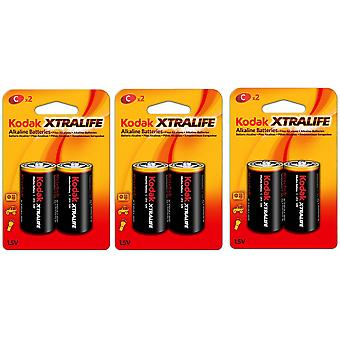 6-pack Battery C, LR14 Alkaline Batteries Kodak Xtralife