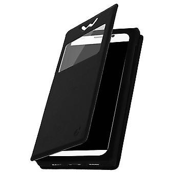 Smartphone Case 4.9'' Card Holder Window Video stand,slide Black