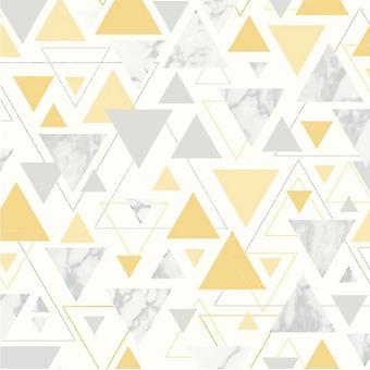 Triangle Geometric Metallic Wallpaper Yellow Grey Silver Marble Pastel Debona