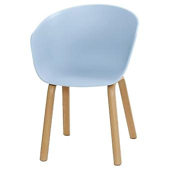 Fusion Living Eiffel Inspiré Blue Plastic Armchair With Light Wood Legs