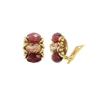 Eternal Collection Luciana Purple And Red Crystal Clip On Earrings