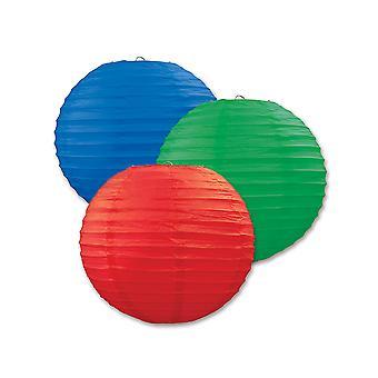 Papier Laternen (Pack Von 3) - Blau, Grün & Rot