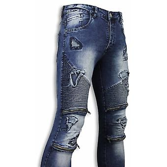 Biker Jeans - Slim Fit Damaged Biker Jeans With Zippers - Blue