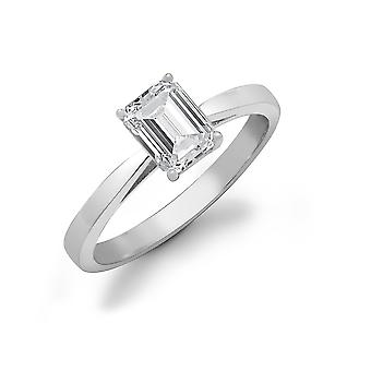 Jewelco London Ladies Solid 18ct White Gold 4 Claw Set Baguette G SI1 0.5ct Diamond Solitaire Engagement Ring 6mm