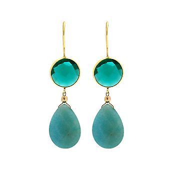 Gemshine örhängen turmins blå akvamarin droppar 925 silver eller guldpläterad
