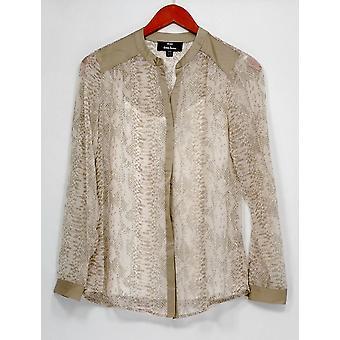 Dennis Basso Top XXS Python Print Long Sleeve Sheer Shirt Camisole Beige A263334