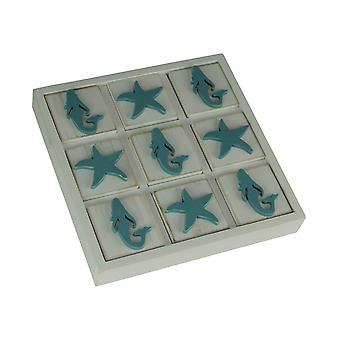 Blue and White Wood Mermaid and Starfish Tic Tac Toe Game Board
