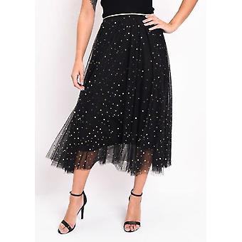 Høj indsnævrede stjerne Sequin Tulle Midaxi nederdel sort