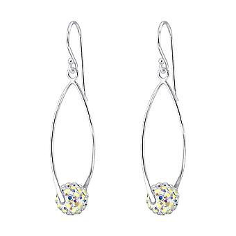 Oval with Crystal Ball - 925 Sterling Silver Crystal Earrings - W19016X