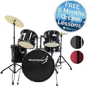 Fusée 5 morceau Rock 22 pouces Kit tambour - disponible en noir, bleu et rouge foncé