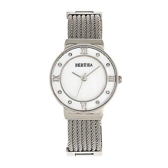Bertha Dawn Mother-of-Pearl Cable Bracelet Watch - Argent
