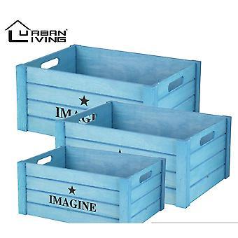 3 puulaatikon setti, jossa out-kannet sininen