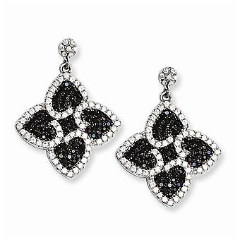 925 Sterling Silver Rhodium plated and CZ Cubic Zirconia Simulated Diamond Brilliant Embers Love Hearts Dangle Post Earr
