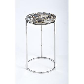 Libra Furniture Multi Coloured Agate Circular Side Table With Nickel Frame