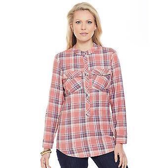 Amber Dames Geborsteld Check Shirt