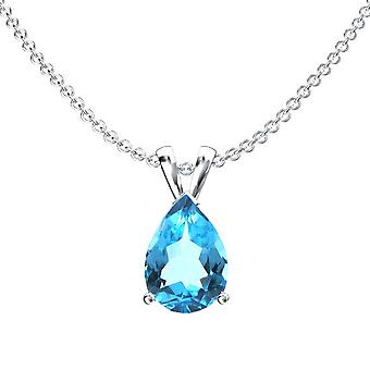 Dazzlingrock Collection 14K 9x7 mm Pear Cut Blue Topaz Ladies Solitaire Pendant (Silver Chain Included), White Gold