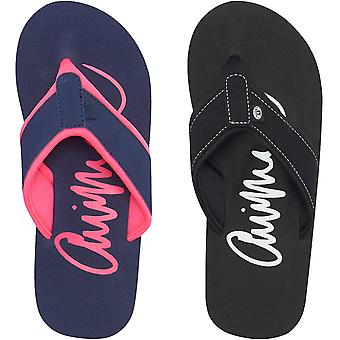 Animal Womens Swish Logo Casual Summer Slip On Beach Holiday Flip Flops Shoes