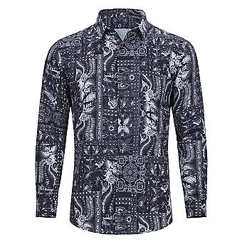 Allthemen Men 's Business Casual Retro Pattern Printed Shirt Top Allthemen Men 's Business Casual Retro Pattern Printed Shirt Top