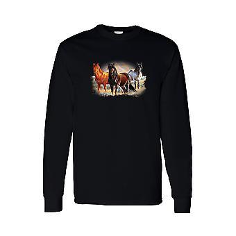 Мужская с длинным рукавом рубашки три лошади