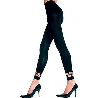 Long Leggings With Exposed Bottom-Black