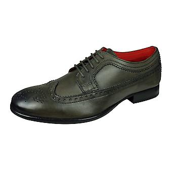 Base London Bailey Mens Burnished Leather Brogue / Shoes - Grey