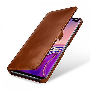 Case For Samsung Galaxy S10 Plus Book Type Cognac In True Leather