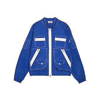 Veste Andrea Crews Bomber patch pocket Jacket Blue Bleu